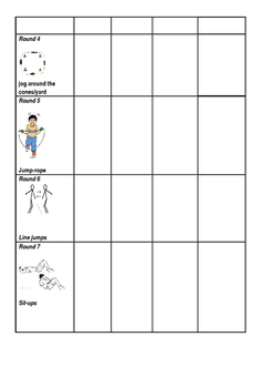 Fitness Challenge sheet