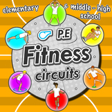 Fitness Circuit Station cards - 36 PE activities for eleme