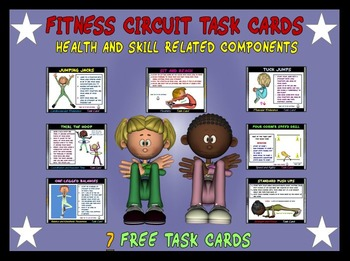 Fitness Circuit Task Cards- 7 Free Cards