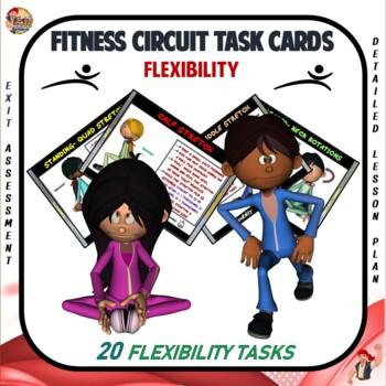 "Fitness Circuit Task Cards- ""Flexibility"""