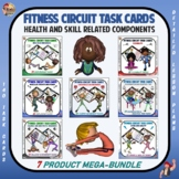 """Fitness Circuit Task Cards Mega Bundle: """"Health and Skill Related Components"""""""