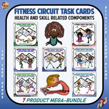 "Fitness Circuit Task Cards Mega Bundle: ""Health and Skill"