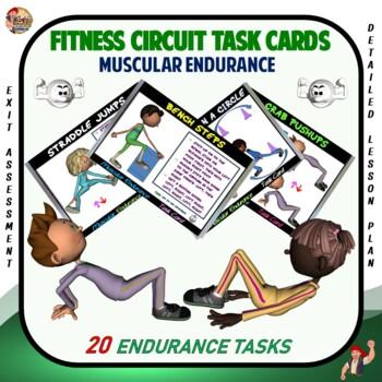 "Fitness Circuit Task Cards- ""Muscular Endurance"""