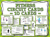 Fitness Circuit Training Cards - 10 Cards