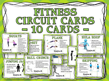 Fitness Circuit Training Cards - 10 Cards - PPT version