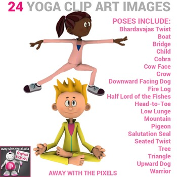 fitness clip art  24 yoga poses color and back  white