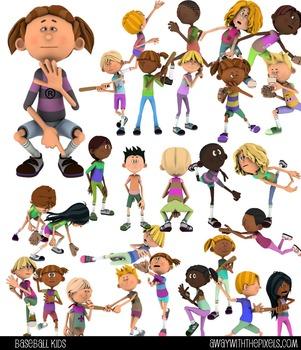 Fitness Clip Art - 28 Baseball Kids Commercial Use Clipart