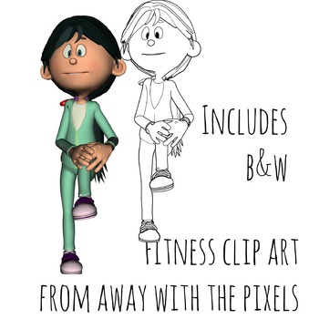 Fitness Clip Art - Flexibility, Color and Back & White Commercial Use Clipart