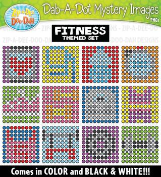 Fitness Dab-A-Dot Mystery Images Clipart {Zip-A-Dee-Doo-Dah Designs}