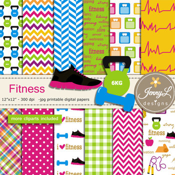 Fitness Exercise Digital Papers and Cliparts
