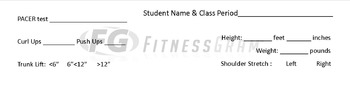 Fitness Gram Data Sheets