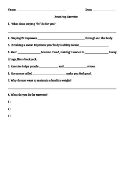 Fitness Mini Unit Worksheets, Test, and Answer Key