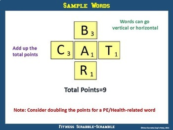 Fitness Scrabble-Scramble: PE Activity with Printable Letters and Point Values