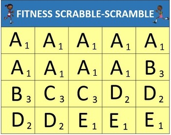 graphic about Scrabble Printable referred to as Conditioning Scrabble-Scramble: PE Sport with Printable Letters and Fact Values