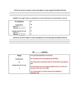 Fitness Testing S.M.A.R.T. Goal Worksheet by PE For Life | TpT