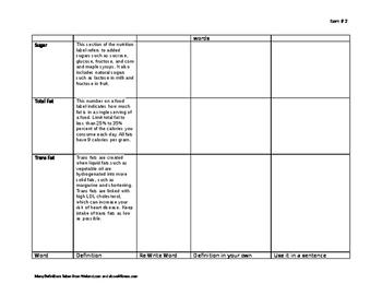 Fitness Unit Vocabulary assignment