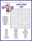 HEALTH AND FITNESS Word Search Puzzle Worksheet Activity