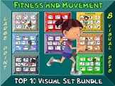 Fitness and Movement Sign Bundle- Top 10 Movement Visuals- 8 Sets