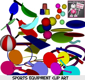 Fitness and PE Equipment Clip Art Color and Back & White Commercial Use Clipart