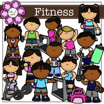 Fitness digital Clipart (color and black&white)