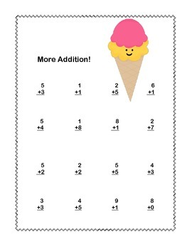 First Grade Math Addition & Subtraction Within 20 Worksheets Ice Cream Theme