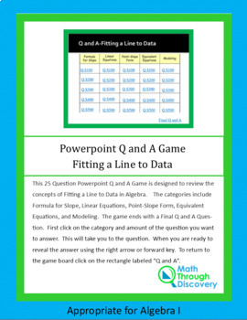 Algebra I: Powerpoint Q and A Game - Fitting a Line to Data