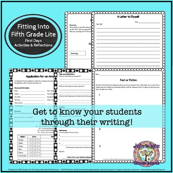 Fitting into Fifth Grade: First Weeks' Activities and Reflections (Lite)