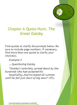 Fitzgerald s The Great Gatsby Chapter 6 QUOTE HUNT ACTIVITY and LESSON