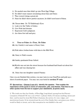 Fitzgerald's The Great Gatsby Test with Answer Key