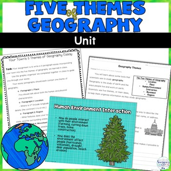 Five Themes of Geography Unit of Notes, Vocabulary. and Activities