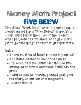 Five Below: Money Math Project