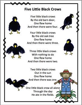 Five Black Crows Pocket Chart