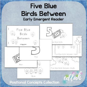 Five Blue BirdsEarly Emergent Reader (Between) - Black & White Version