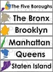 Five Boroughs of New York City Picture Word Walls