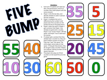 Five Bump - A 2-Player Game to Practice Multiplying by the Number 5