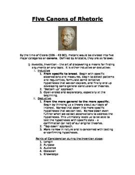 Five Canons of Rhetoric handout