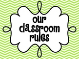Five Classroom Rules - Green and Blue Chevron