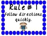Five Classroom Rules