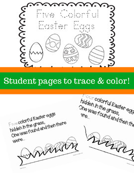Five Colorful Easter Eggs Printable Book and Counting Activities