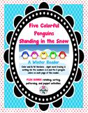 Five Colorful Penguins Standing in Snow Reader FREE Bonus Activities