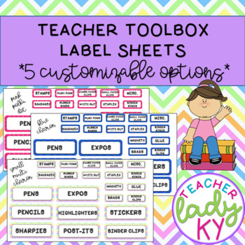 Five Customizable Teacher Toolbox Label Sheets