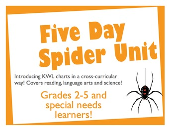 Five Day Cross-Curricular Unit on Spiders (Reading/Science/LA) KWL intro