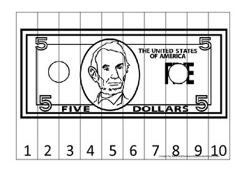 Five Dollar Bill 1-10 Number Sequence Puzzle. Financial education for preschool.