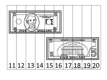 Five Dollar Bill 11-20 Number Sequence Puzzle. Financial education for preschool