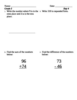 Five Easy Steps Math Review Grade 2