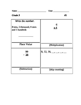 Five Easy Steps Math Review Grade 3