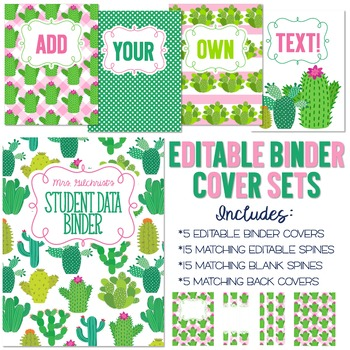 five editable binder cover sets cactus themed for data lesson