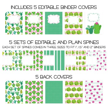 five editable binder cover sets cactus themed for data
