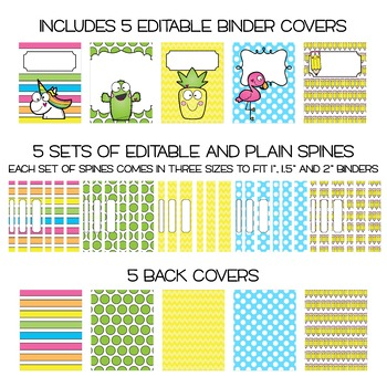 Five Editable Binder Cover Sets - Cute & Fun  - For Data, Lesson Plans, etc...
