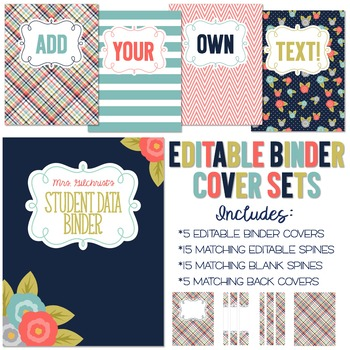 Five Editable Binder Cover Sets - Great for Teacher Binders, Lesson Plans & MORE